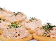Salmon spread on cracker cookies Stock Photo