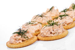 Salmon spread on cracker cookies Stock Images