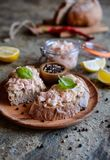 Salmon spread with cream cheese and onion on whole grain bread slices Stock Photography