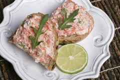 Salmon Spread Lime Stock Photography