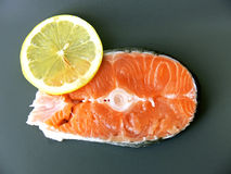 Salmon stake and lemon Royalty Free Stock Photo