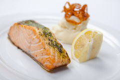 Salmon stake with mashed potatoes Royalty Free Stock Photos