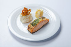 Salmon stake with mashed potatoes Royalty Free Stock Images