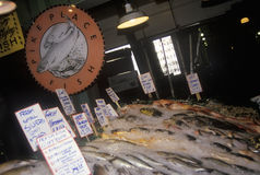 Salmon stand at Pike Place Public Farmers Market, Seattle, WA Royalty Free Stock Images