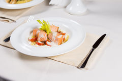 Salmon starter with a cream sauce Royalty Free Stock Images