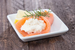 Salmon starters on small plates Royalty Free Stock Photography