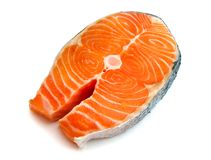 Salmon steak. Isolated on white background Royalty Free Stock Images