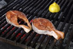 Salmon steak barbecue Royalty Free Stock Photos