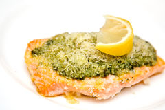 Salmon steak with basil pesto Royalty Free Stock Images