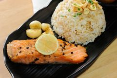 Salmon steak with black pepper royalty free stock photography