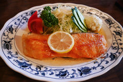 Salmon steak at Boyotei restaurant near Toya lake , Hokkaido Japan. Pacific salmon steak at Boyotei restaurant near Toya lake , Hokkaido Japan. Very juicy and Royalty Free Stock Image