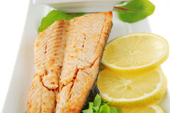 Salmon steak and butter Stock Photo