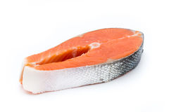 Salmon steak close-up isolated on white  background Stock Photos