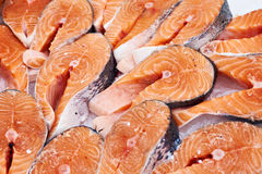 Salmon steak cooled on store Stock Images