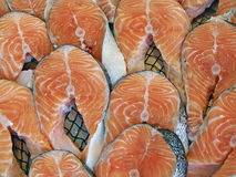 Salmon steak on the counter fish markets. Food background.  Ista Royalty Free Stock Images