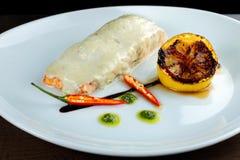 Salmon steak cream sauce. Royalty Free Stock Photography
