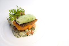 Salmon Steak with crispy skin Stock Photos