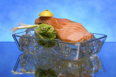 Salmon steak on crystal clear ice cubes Royalty Free Stock Image