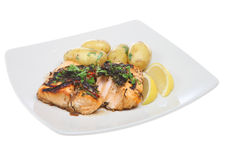 Salmon Steak Dinner Stock Images