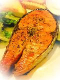 Salmon. Steak Dinner Delicious Grill royalty free stock photos