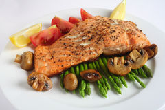 Salmon steak dinner with mushroom, asparagus, Stock Photos
