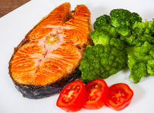 Salmon steak fillet with broccoli Royalty Free Stock Photography