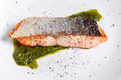 Salmon steak fillet - selective focus point royalty free stock photography