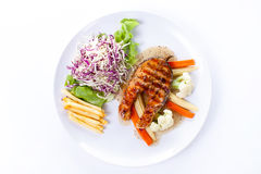 Salmon Steak with French fries Royalty Free Stock Photos