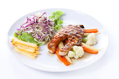 Salmon Steak with French fries Stock Photography