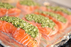 Salmon steak with fresh basil pesto Stock Photography