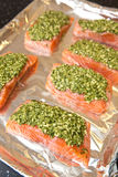 salmon steak with fresh basil pesto Stock Images