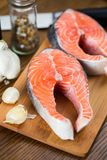 Salmon steak Stock Photos