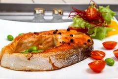 Salmon steak. With fresh vegetable Stock Photo