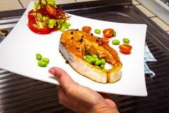 Salmon steak. With fresh vegetable Royalty Free Stock Image