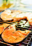 Salmon steak fried on grill. Stock Images