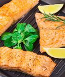 Salmon steak in the fry pan Stock Photography
