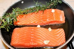 Salmon. Steak with garlic in a pan Stock Image