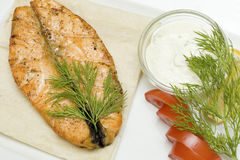 Salmon steak - gourmet fish Royalty Free Stock Image
