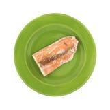 Salmon Steak Green Plate Arkivfoton