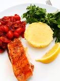 Salmon steak - grilled fish royalty free stock photos