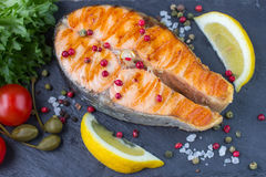 Salmon steak grilled Royalty Free Stock Image