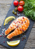 Salmon steak grilled Stock Image