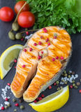 Salmon steak grilled Royalty Free Stock Photography