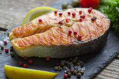 Salmon steak grilled Stock Photography