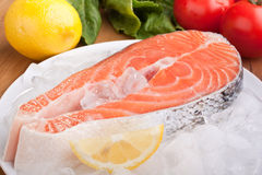 Salmon Steak on Ice Royalty Free Stock Photo