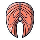 Salmon steak icon, cartoon style. Salmon steak icon. Cartoon illustration of salmon steak vector icon for web Stock Images
