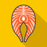 Salmon steak icon, flat style. Salmon steak icon in flat style on a yellow background Royalty Free Stock Images