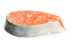 Salmon steak isolated on white Royalty Free Stock Photography
