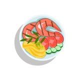Salmon Steak With Mashed Potato et légumes, illustration de plat de nourriture de gril d'Oktoberfest Image stock