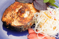 Salmon steak meal above view. Salmon steak meal closeup photo above view royalty free stock image